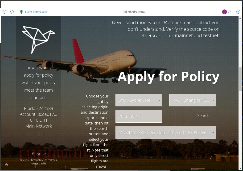 Checking Out FlightDelay, A Decentralised Flight Delay Insurance